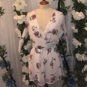 Bailey Blue White Flowered Long Sleeve Romper